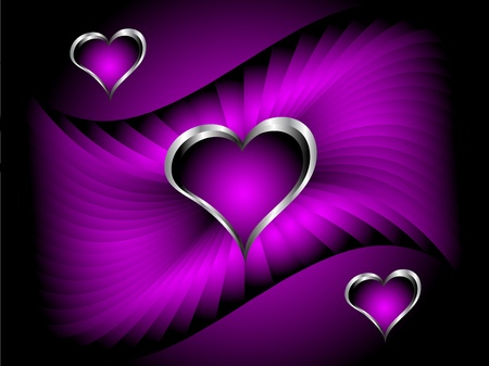 A purple hearts Valentines Day Background with silver hearts on a darker satin effect graduated background Vector