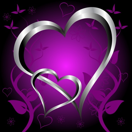 A purple hearts Valentines Day Background with silver hearts and flowers on a darker graduated background Stock Vector - 8345094