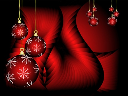 scarlet: Christmas background illustration with baubles on a red backdrop