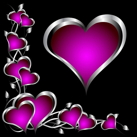 velvet ribbon: A purple hearts Valentines Day Background with silver hearts and flowers on a black background