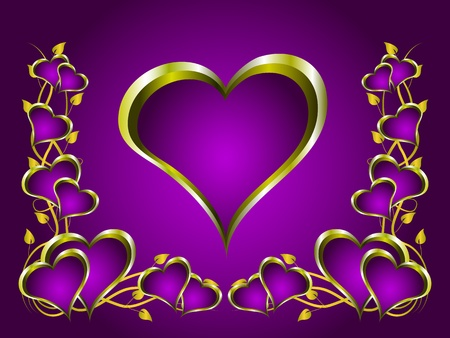 A valentines background with a series of  gold hearts on a deep purple backdrop and a large central heart with room for text Vector