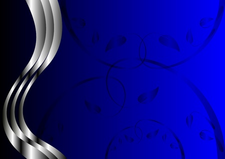royal blue background: A silver floral design with room for text on a royal blue background Illustration