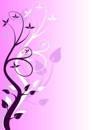 An abstract mauve floral design with stylised trees in shades of purple and room for text
