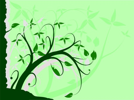 A green floral background vector illustration with room for text Vector