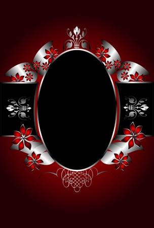 lustre: A silver floral background template design with room for text on a rich red background