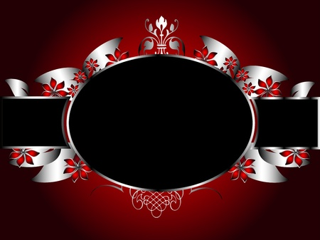 silver: A silver floral background template design with room for text on a rich red background
