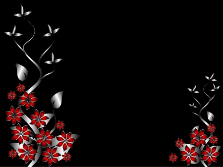 A silver and red  floral background template design with room for text on a black background Stock Vector - 8345184
