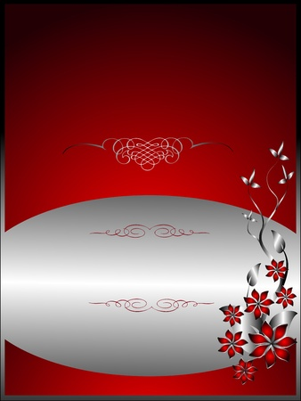 A silver floral menu template design with room for text on a rich red background Vector