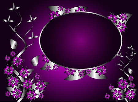 A silver and purple floral design with an oval frame for text Vector