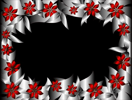 A Floral  frame with silver leaf border with red flowers and room for text or a picture in the centre Stock Vector - 8345152