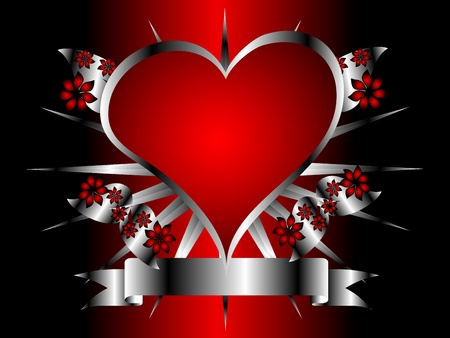 A gothic silver and red floral hearts design with room for text on a black background Stock Vector - 8345167