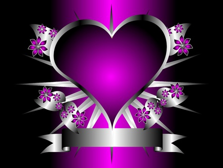 A gothic silver and purple floral hearts design with room for text on a black background Vector