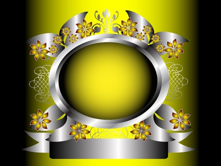 An abstract yellow and silver floral design with an ornate silver frame on a graduated yellow background Stock Vector - 8345180