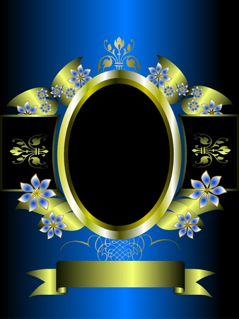 silver background: A silver floral background template design with room for text on a rich blue background Illustration