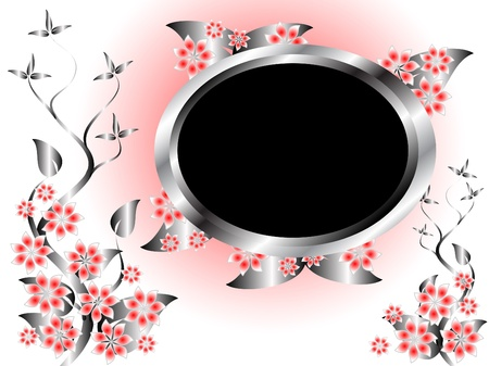 A silver and pink floral template design with room for text on a light pink background Stock Vector - 8344424
