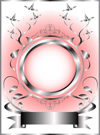 A silver and pink floral template design with room for text on a light pink background Vector