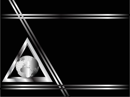 A black and Silver Business card or Background Template with a silver globe in a triangle Illustration