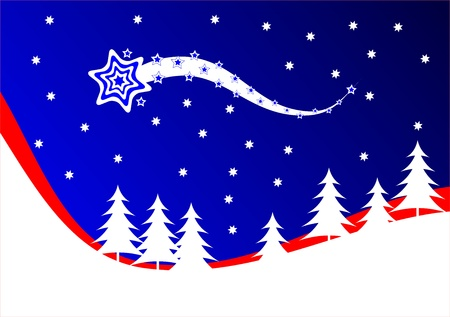 A red and blue Christmas background illustration with a shooting star above a snow covered hillside with white christmas trees Vector