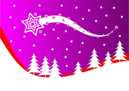 An abstract christmas background illustration with a shooting star above a christmas tree covered hill
