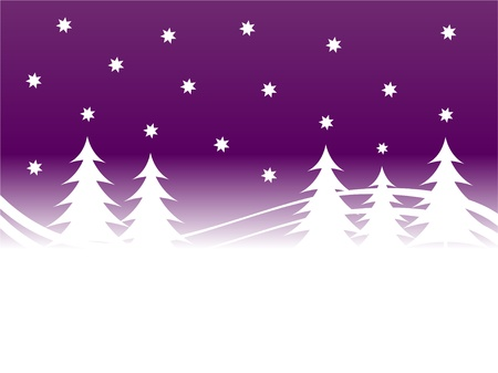 purple stars: An abstract christmas background illustration with a stary sky above a christmas tree covered hill