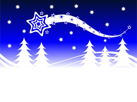stary: An abstract christmas background illustration with a stary sky above a christmas tree covered hill