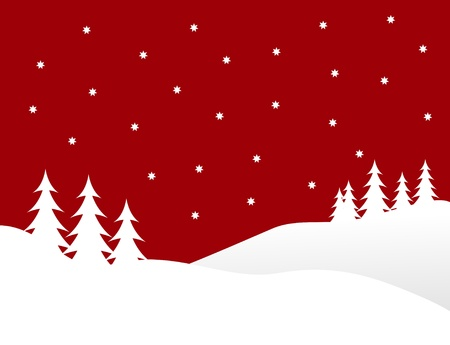 A winter background illustration with white trees on snowy hills with a red starry evening sky with room for text Stock Vector - 8344558