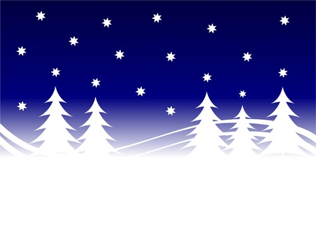 An abstract christmas background illustration with a stary sky above a christmas tree covered hill