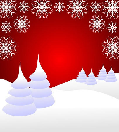 A winter background illustration with snow covered christmas trees on snowy hills with large snowflakes with room for text    Vector