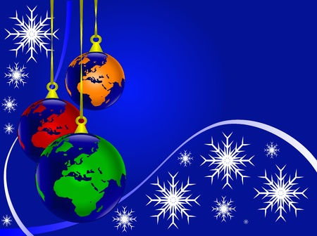 An abstract Christmas illustration with world earth globe baubles on a darker backdrop with white snowflakes and room for text Illustration