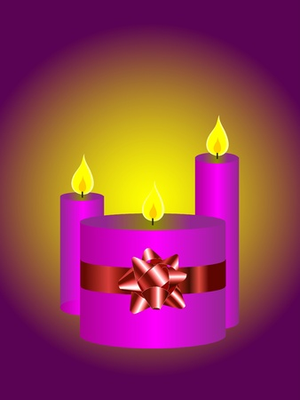 An illustration with a set of three candles on a red background can be used as christmas illustration Vector