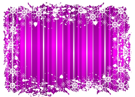 A grunge christmas frame with snowflakes on a mauve background with grunge border Vector