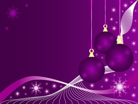 An abstract Christmas illustration with purple baubles on a lighter backdrop with snowflakes and room for text