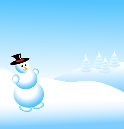 A sky blue christmas scene with a snowman and swirls and snowflakes Vector