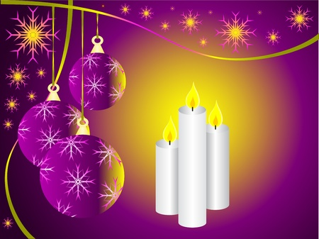 An illustration with a mauve christmas baubles and three christmas candles Vector