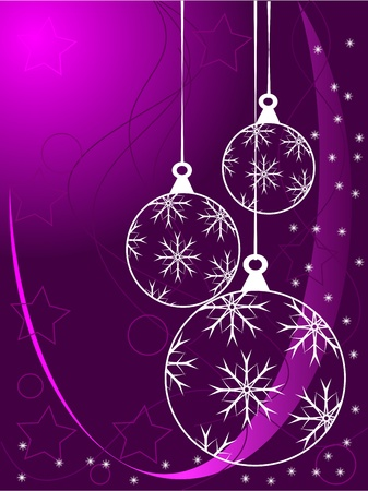 An abstract Christmas illustration with white outline baubles on a purle backdrop with white snowflakes and room for text Vector