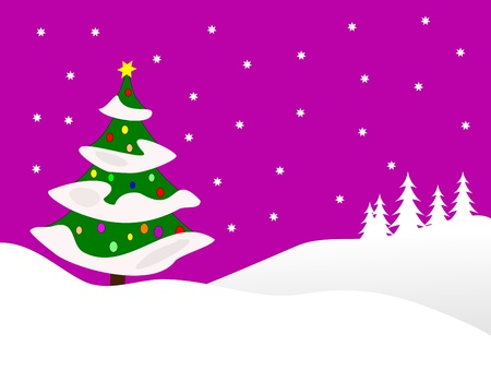 A winter background illustration with a large snow covered christmas tree on snowy hills with a mauve starry evening sky with room for text  Vector