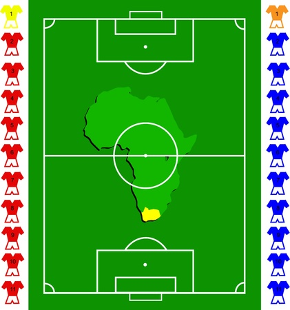tactical: A soccer or football tactical  exact scale pitch with amap of africa in the centre