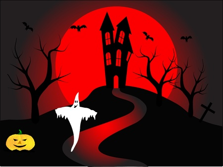 A halloween illustration with a ghost  in front of a haunted house Stock Vector - 8348198