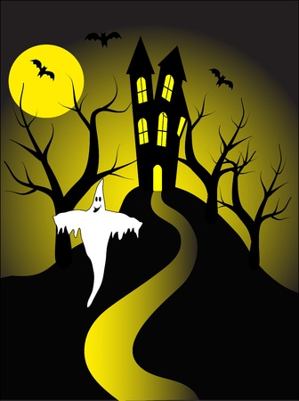 ghost house: A halloween illustration with a ghost  in front of a haunted house