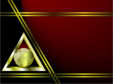 A deep red and gold Business card or Background Template with a world globe enclosed by a silver triangle