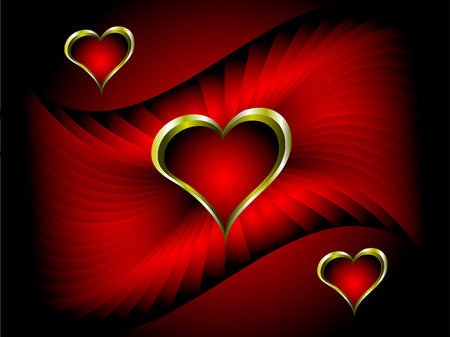 A vector valentines background with gold hearts on a deep red backdrop with room for text Illustration