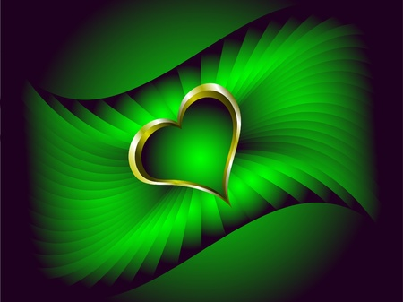 A valentines vector illustration with a gold heart with room for text on a deep green background Vector