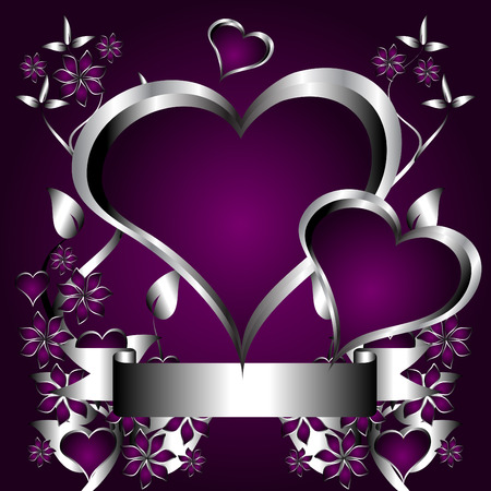 silver ribbon: A silver hearts vector illustration with a heart shaped frame with room for text on a deep purple background Illustration