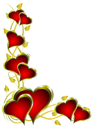 A red hearts valentines background with gold leaves isolated on white Stock Vector - 8395184