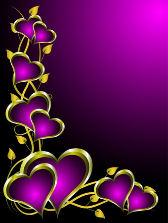 A valentines vector illustration with gold hearts with room for text on a deep purple background Vector