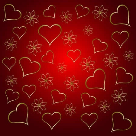 A gold hearts valentines day background which can be tiled Vector