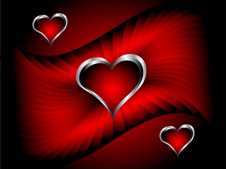 A vector valentines background with silver hearts on a deep red backdrop with room for text Vector