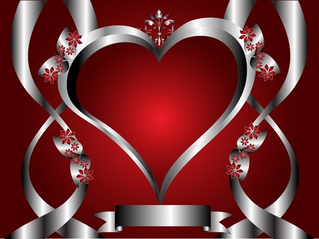A red hearts Valentines Day Background with silver hearts on a red floral background background Vector