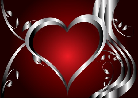 silver: A red hearts Valentines Day Background with silver hearts on a red floral background background
