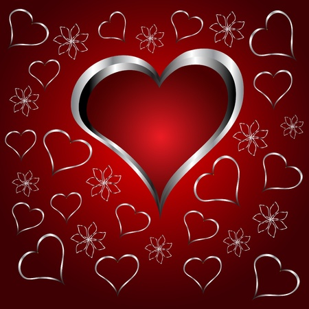 A red hearts Valentines Day Background with silver hearts and flowers on a red graduatedl background Vector